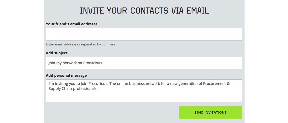 Invite contacts to Procurious by email