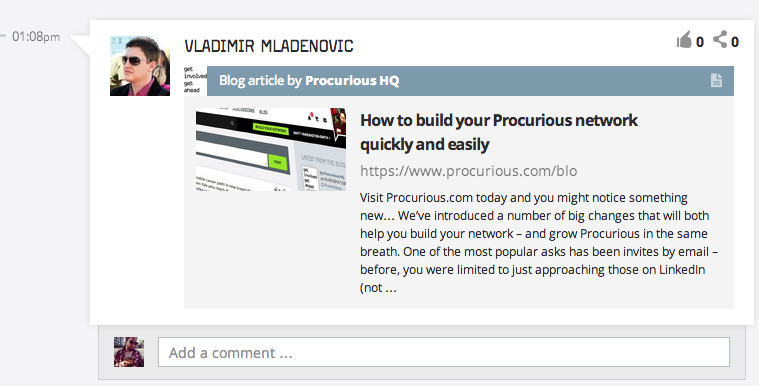 Share articles on Procurious