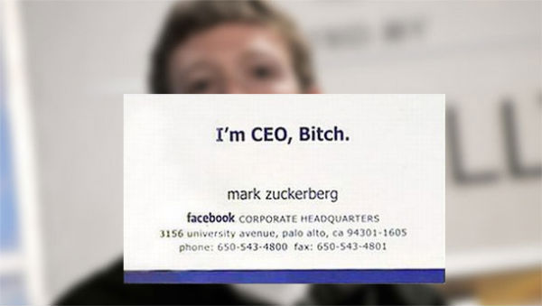 Mark Zuckerberg's Facebook business card