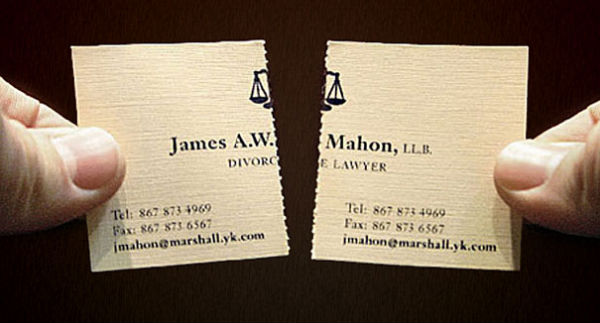 Divorce lawyer tearable business card