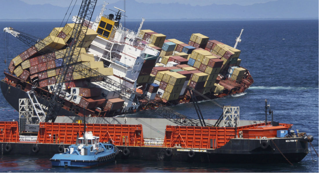 How many shipping containers were lost at sea?