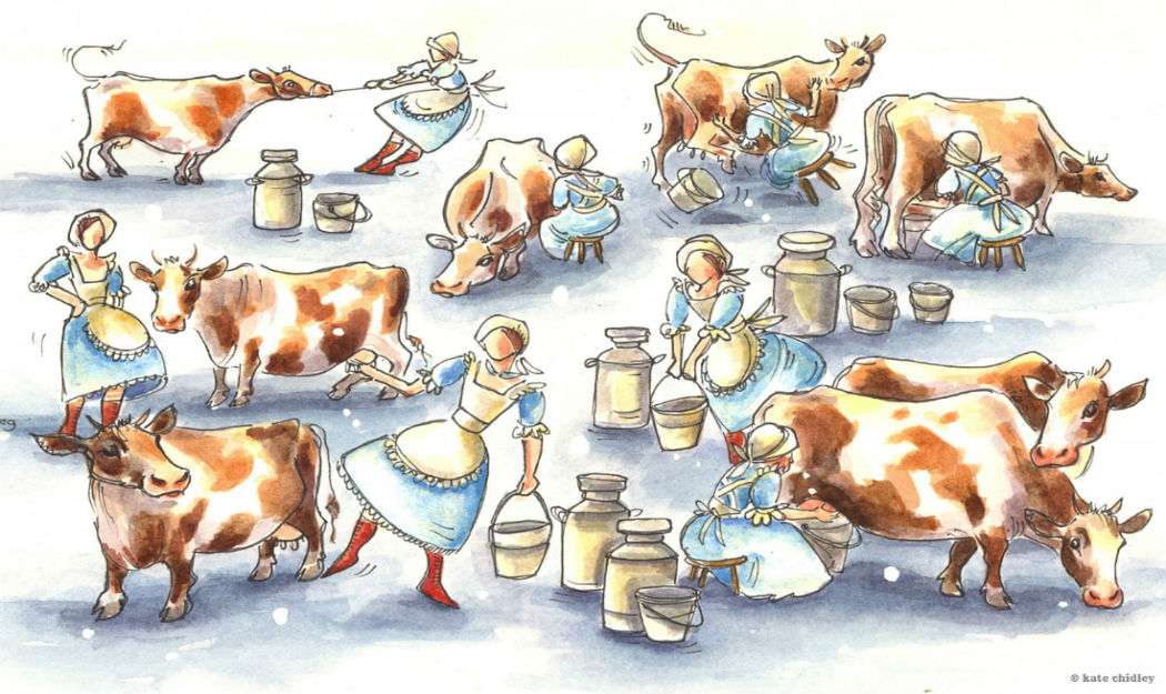eight maids a milking